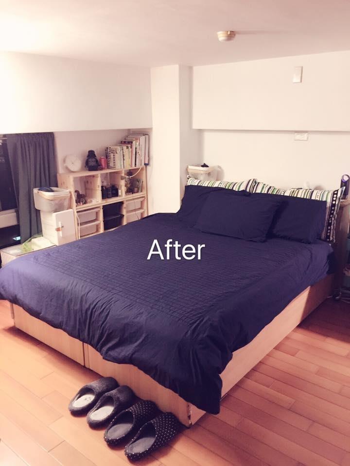 將過季衣物、冬季棉被放入床頭櫃,並將不合時宜的矮桌撤除,以工作桌取代。圖片提供_居家收納Mr.許