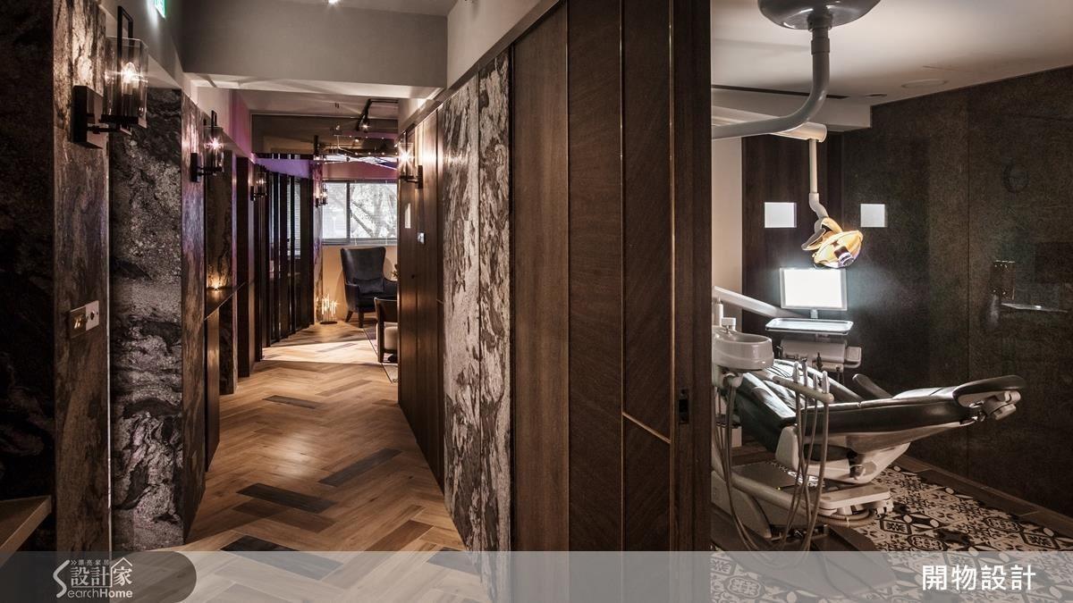 廊道底端的隱藏櫃檯,刻意設計為斜角度,引導動線、延伸視覺。