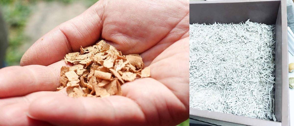 木屑棉外觀(左圖)與鑽泥板木屑棉外觀(右圖)