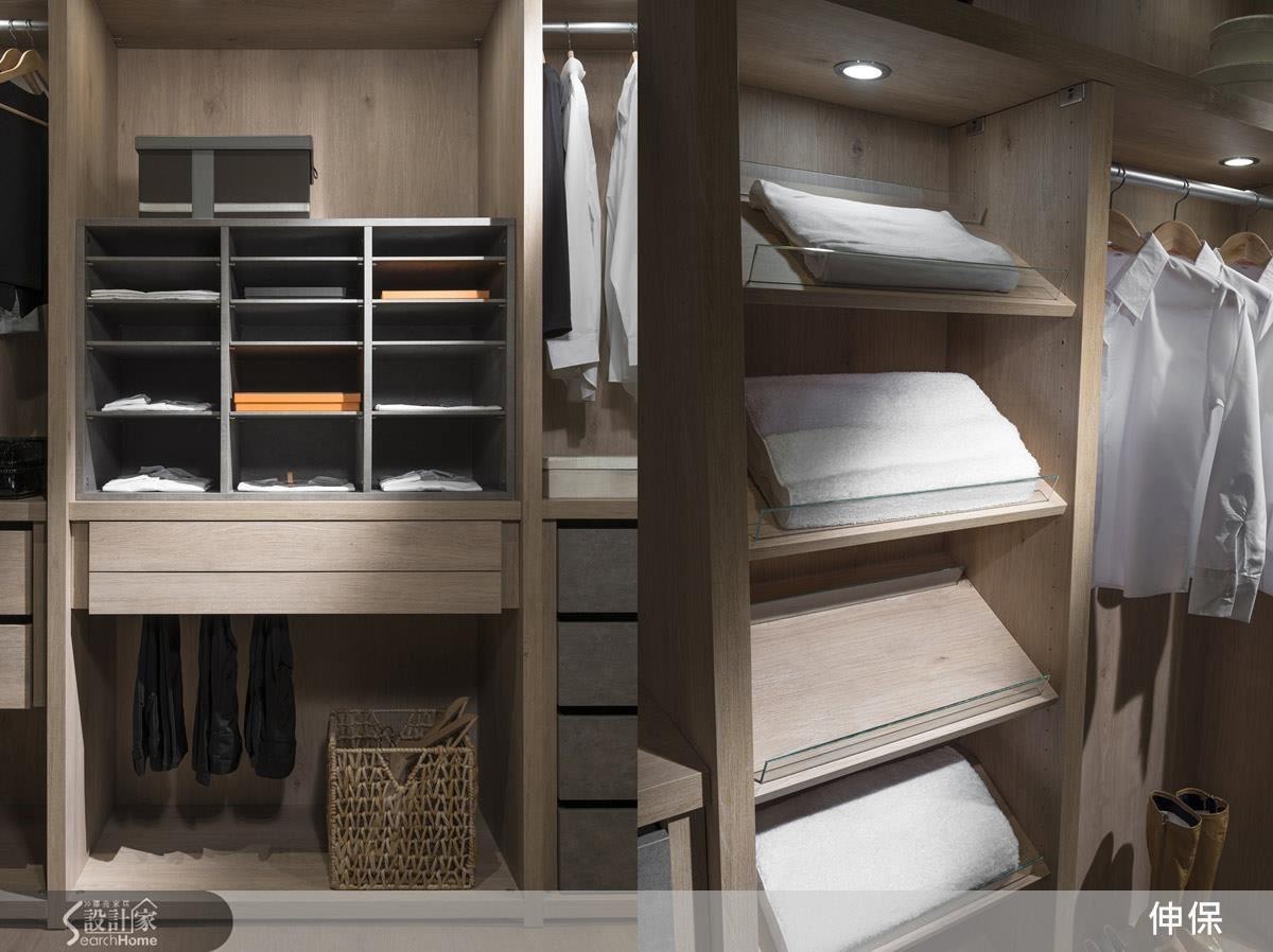 伸保對於居家生活的使用習慣投入大量心思,因此在系統櫃的設置上,除了量身訂做外,還能幫助屋主想得更多,讓每一件收納都能適得其所。