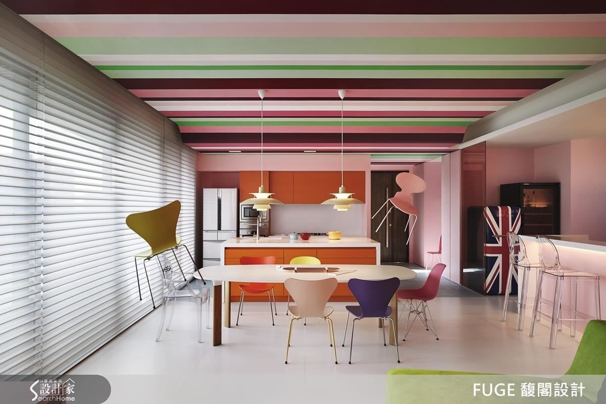 就像你不知道,天花板可以由法國藝術家傅自華 ( François Fléché )手繪而成;你不清楚粉紅牆面與橘色廚具能碰撞出什麼火花,這裡就是這樣一個激發各種創意與想像的空間。