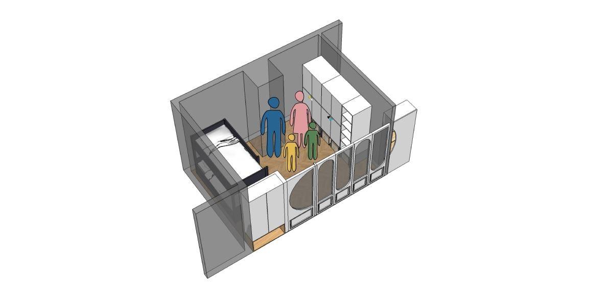 由於有兩個孩子,當隨著孩子年紀增長,可將大房間恢復為 2 個小房間,巧妙規劃的兩側衣櫃皆可沿用,不用重新規劃。