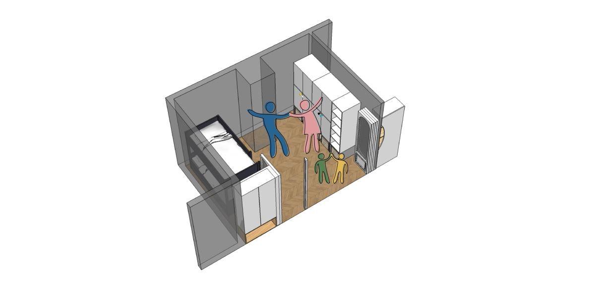 打開摺疊門片與公共空間融合的大空間,即可進行親子互動。