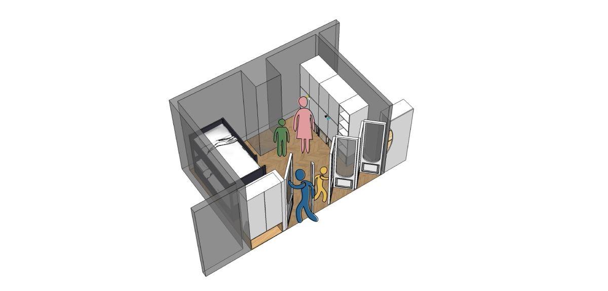 長大後變成各自獨立房間依據柱子拉一道牆,兩邊櫃子可沿用。