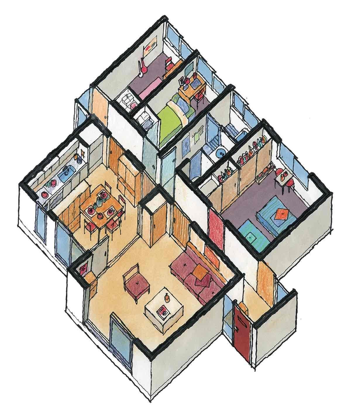 過道走廊型方案-平面等角透視圖  圖片提供_漂亮家居麥浩斯