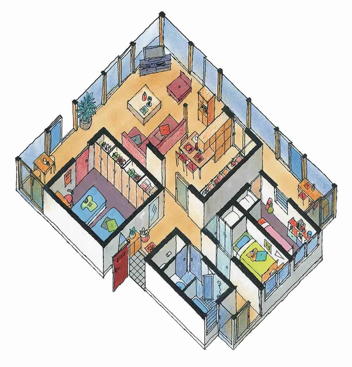 分散型方案-平面等角透視圖  圖片提供_漂亮家居麥浩斯