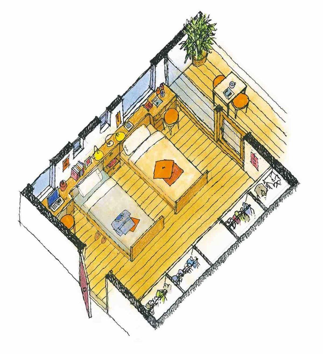 有書桌的寢室-等角透視圖 圖片提供_漂亮家居麥浩斯