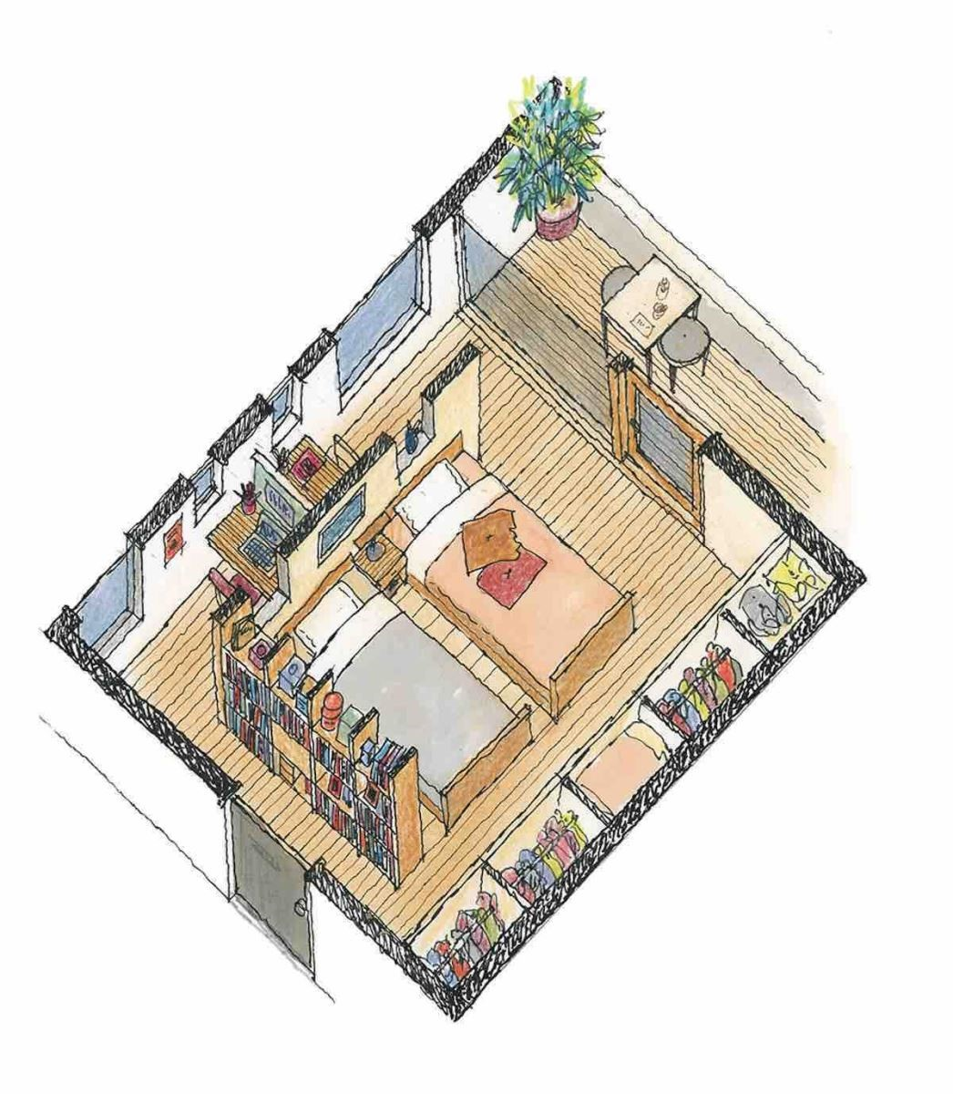 劃分出書房區的寢室-等角透視圖 圖片提供_漂亮家居麥浩斯