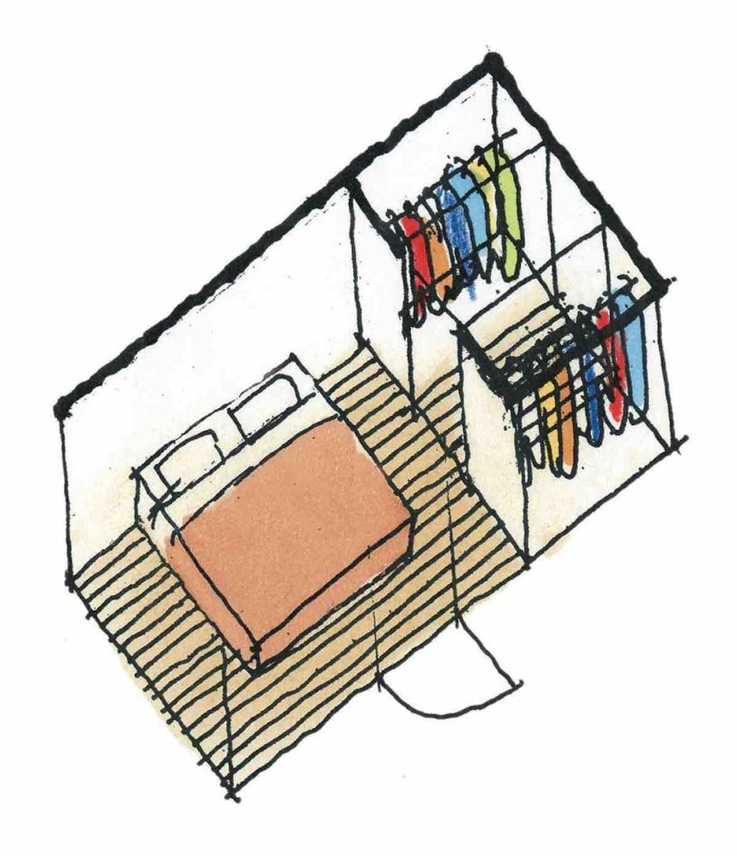 有更衣室(兩列式)的寢室-等角透視圖 圖片提供_漂亮家居麥浩斯