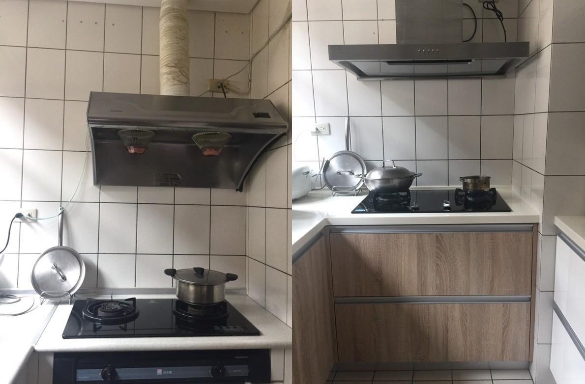 (左)安裝瓦斯智慧監控前的瓦斯爐樣貌。(右)安裝瓦斯智慧監控前後的廚房景象。