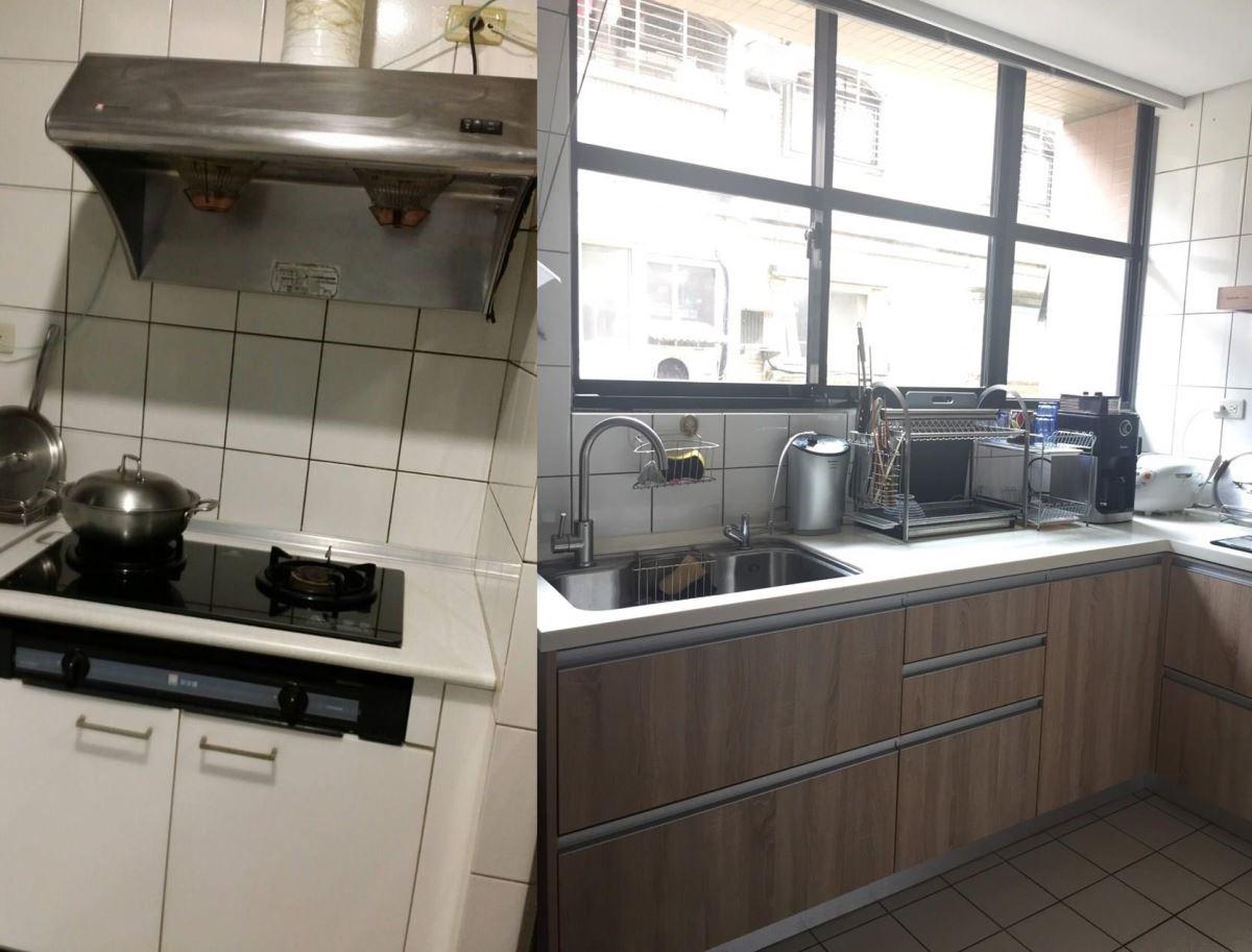 (左)裝修前的廚房。(右)搭配木紋肌理的面板後,廚房空間變得乾淨、舒適。