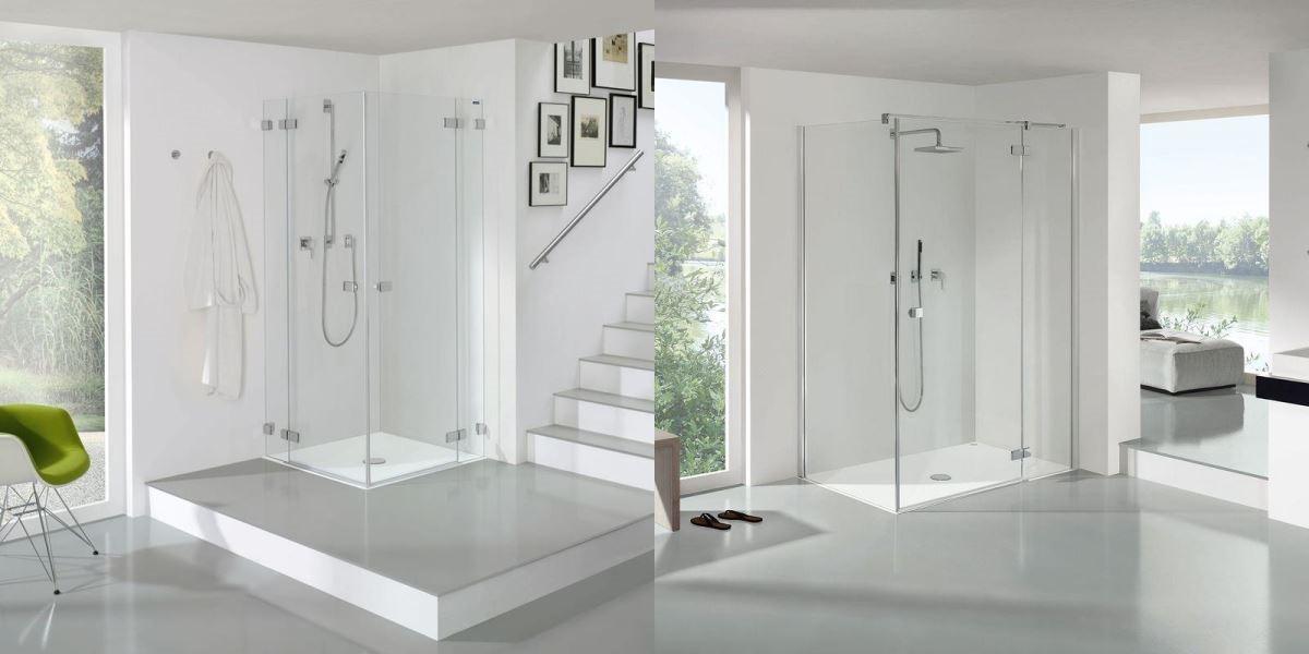 利用角落打造 L 型拉門,玻璃質感的淋浴界定,其透視效果讓空間更感寬闊。