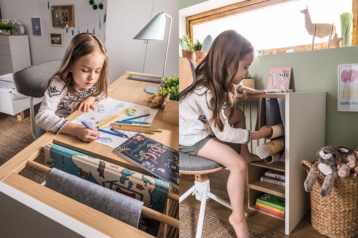 4 YOU 系列由嬰兒床轉變的書桌中,桌面可掛畫軸、繪本,桌面下還可搭配 4 YOU 系列各式木盒做為書架,此款變化書桌到成人階段都可使用。