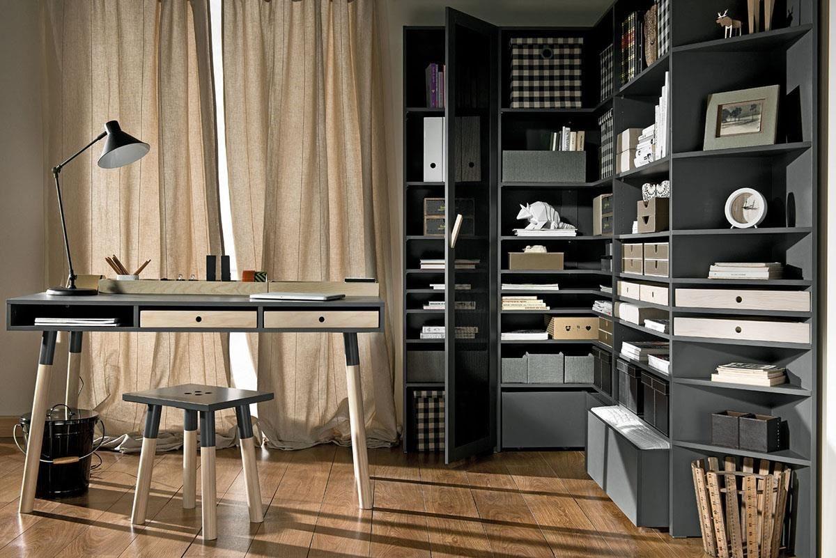 LORI 書房系列以沉穩石磨灰為主色調,搭配斜切木把手與金屬網門元素,設計師的創意與優雅內斂氣質展現無遺。