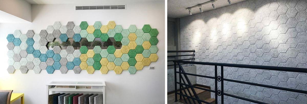 六角吸音磚可以隨喜好塗上彩色水性漆後自由拼貼,為所在空間增添設計感與趣味性,當然最棒的是吸音減噪的效果啦。