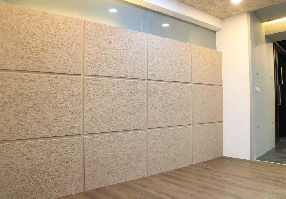 可施作於牆面或板材上的吸音塗料,兼具視覺美感與吸音效果。