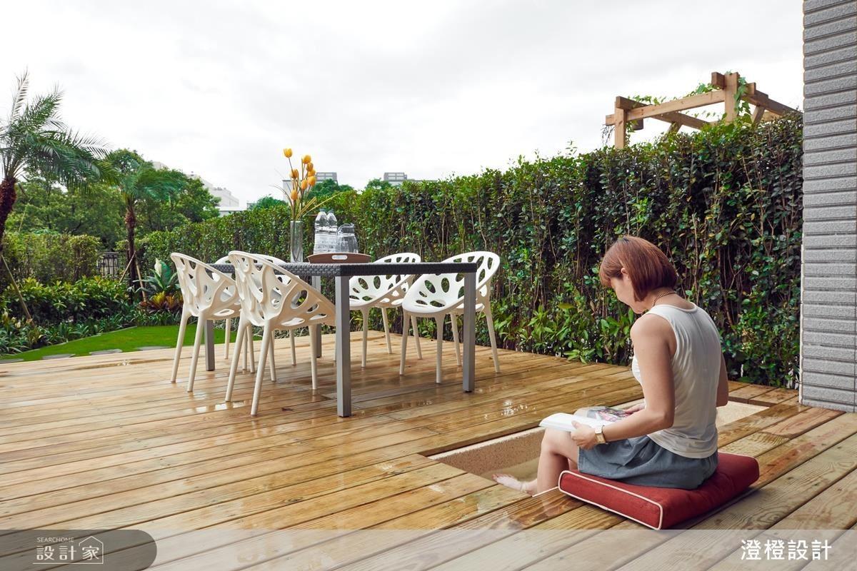 庭園空間重新規劃了木棧板區、植栽,搭配戶外家具,有濃厚的南洋風情。還有一個小水池,夏天是孩子們的戲水區,冬天是全家人一同泡腳談心的好地方。