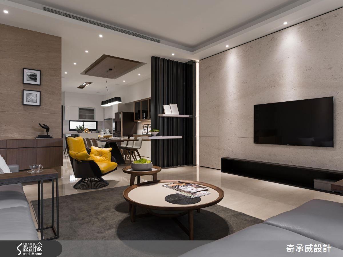 以溫潤木質淺色調為基底,為客廳帶來舒適柔和感。