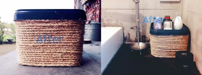 由於麻繩容易吸水,如果要擺在浴室,建議擺放在通風速乾的洗手台區域。圖片提供_居家收納Mr.許