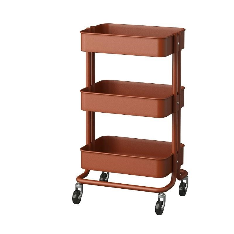 RÅSKOG推車,紅色/棕色(原價$1,495;再創低價$1,290;降幅14%) 適合小空間使用,可到處移動,還能提供額外儲物空間。圖片提供_IKEA