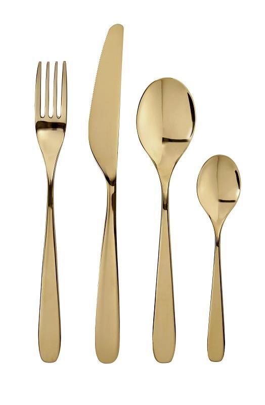 TILLAGD餐具線條設計簡約大方,黃銅色表面有光澤,可為餐桌佈置增添奢華感。圖片提供_IKEA