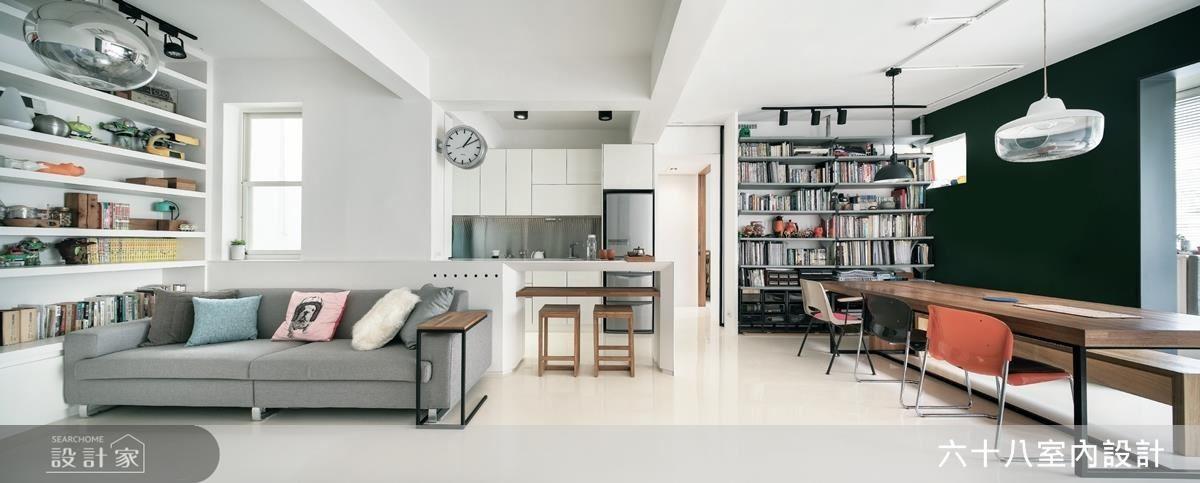 透過大面積的留白處理,不僅提升空間的清爽明亮感,也讓視覺焦點得以聚焦在生活主要的活動區域。