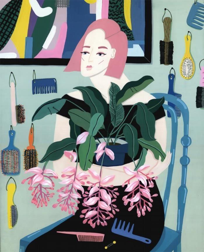 《戀物癖》系列之一的作品Aliya。創作這幅畫之時陳純虹也迷上了栽種植物,因此無論工作室或是畫裡,都看的到虎尾蘭、電信葉及姑婆芋的身影,畫中女子甚至摟抱著植物,如對待情人一般,展現戀物癖的習性。(圖片提供_Eszter Chen陳純虹)