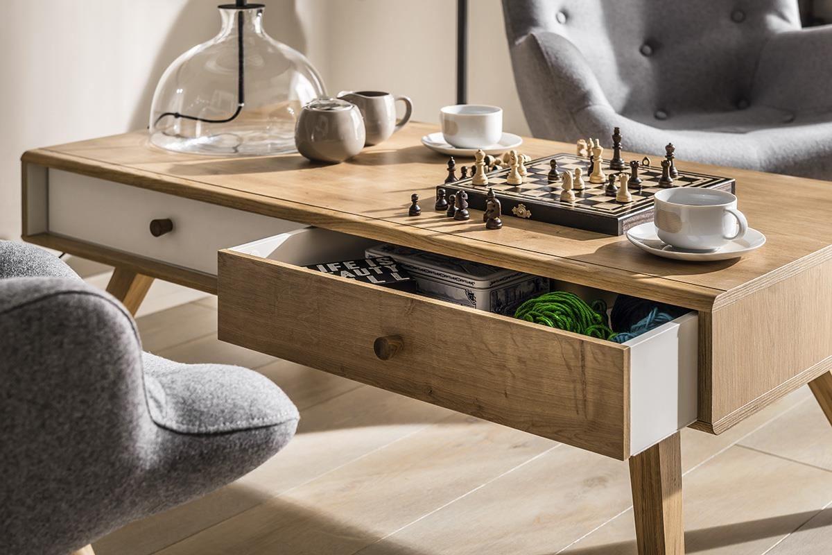 含有抽屜的咖啡桌(茶几)設計,可以隨時取出紓壓桌遊或小點心,享受片刻的悠閒,新品NATURE 系列咖啡桌(茶几)即含2組異色活動抽(白&原橡木色各一)。