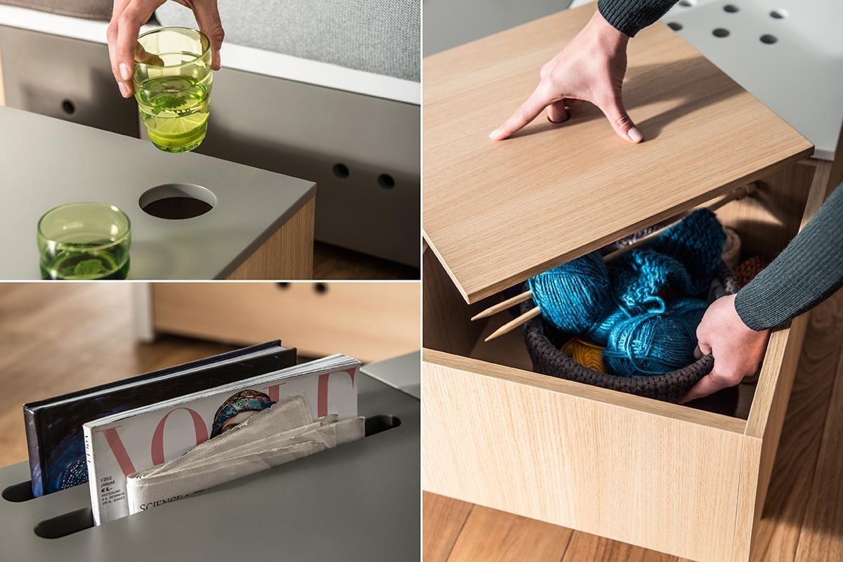 新品 CUSTOM 系列咖啡桌(茶几)除了 1/4 上升式桌板,貼心機能包含置杯區、書報架與儲物槽,宛如是客廳小祕書。