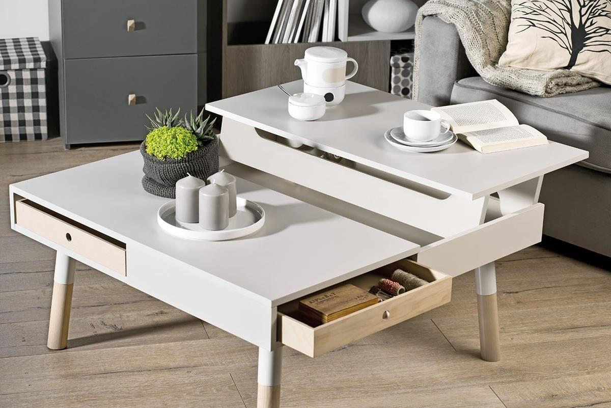 LORI 系列咖啡桌(茶几)擁有半面上升式桌板,下方置物不浪費儲物空間,另一面內含2組活動抽屜木盒,利於分類遙控器或做為茶點用托盤,是享受派熱愛的設計單品。