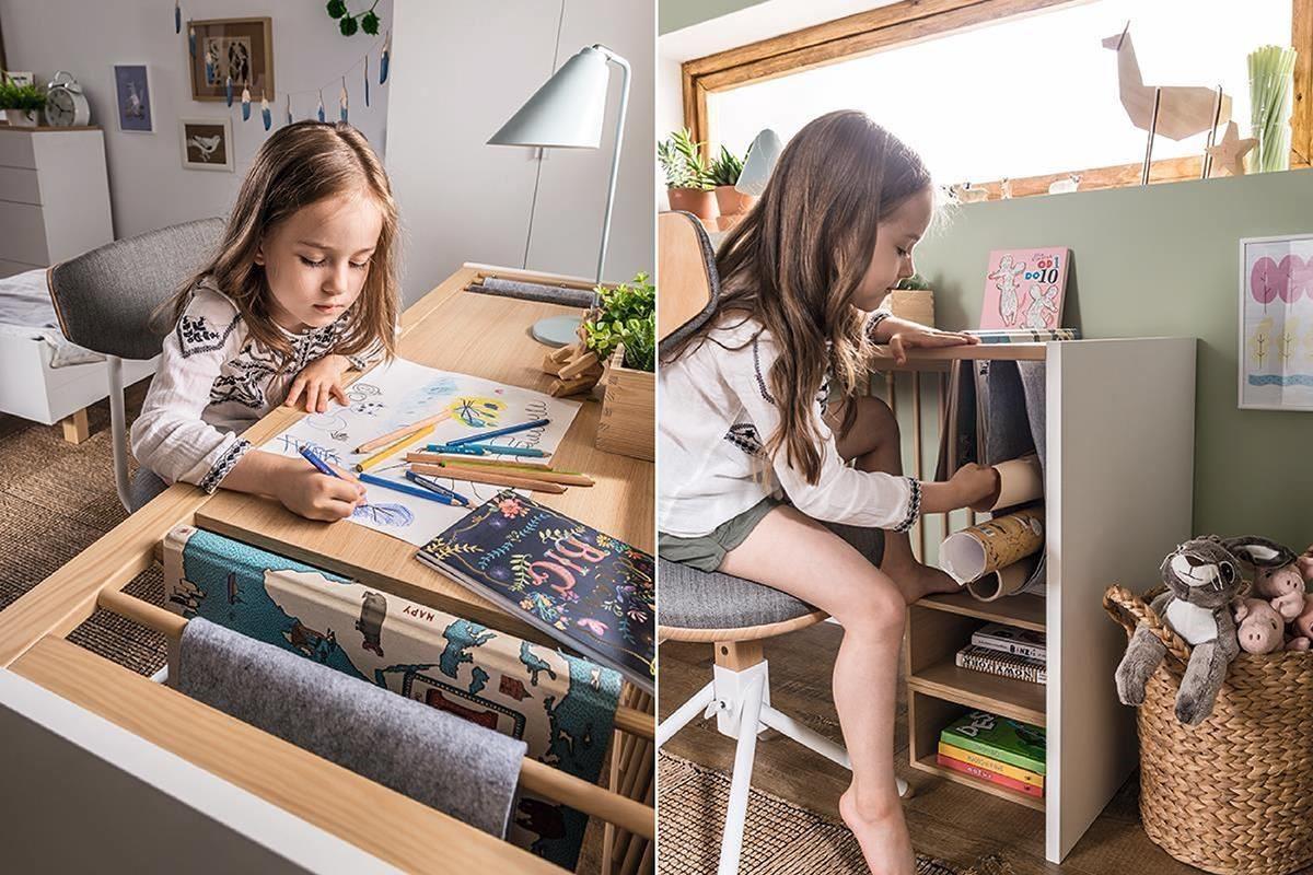 4 YOU 系列由嬰兒床轉變的書桌中,桌面可掛畫軸、繪本,桌面下還可搭配 4 YOU 系列各式木盒做為小書櫃,此款變化書桌到成人階段都可使用, CP 值極佳。