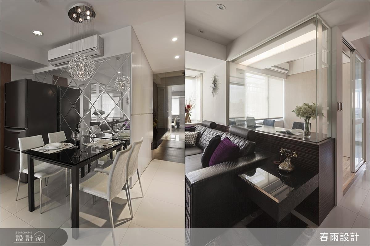 設計師透過鏡面與玻璃隔間,增加空間的通透性,拓大有限空間的視覺尺度。