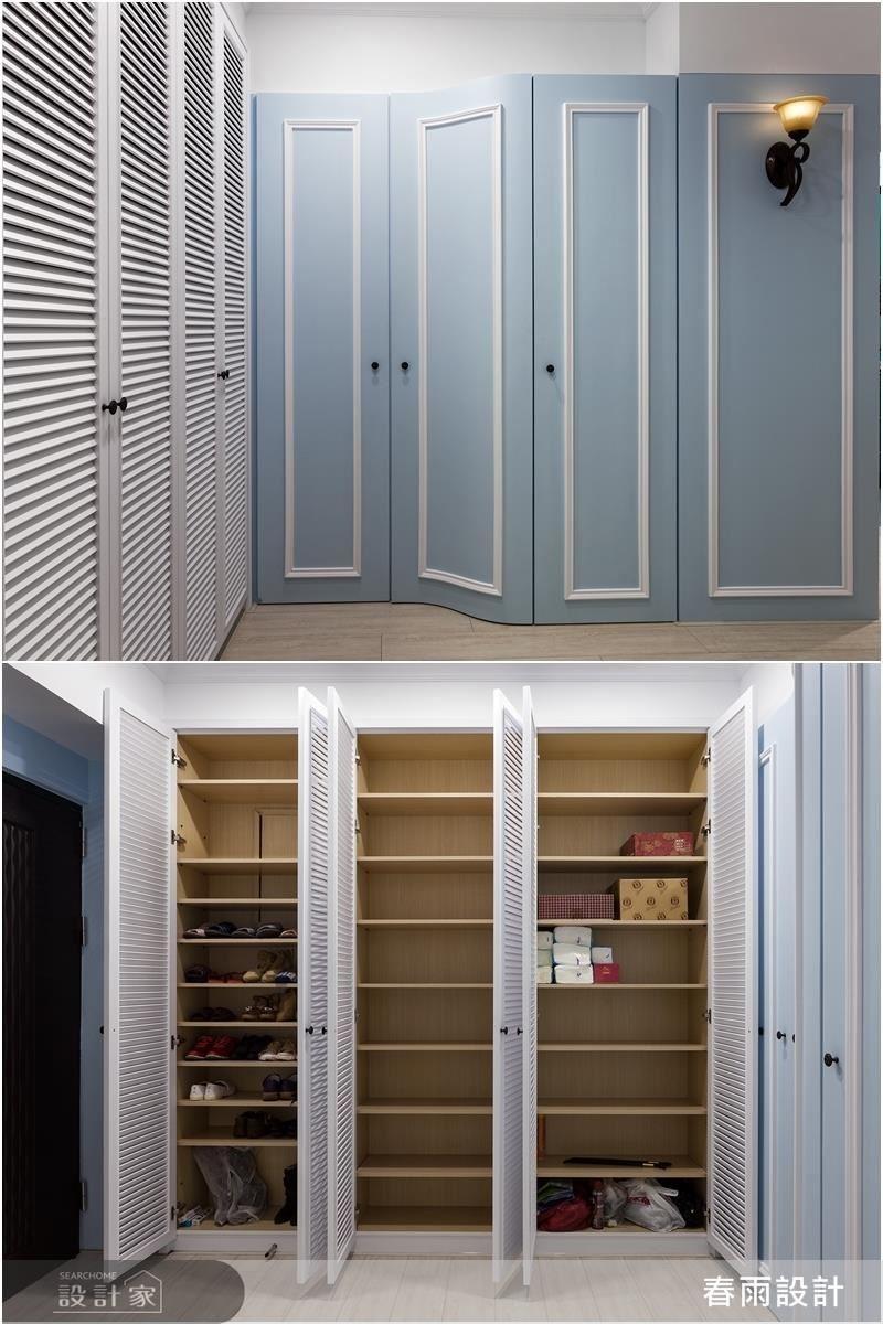 入口處,以兩組櫃體添注高容量機能,加入線板、線條、百葉與色彩等,打造美輪美奐、高機能性的開門場景。
