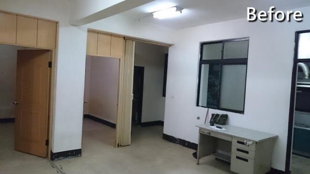 原先廚房存在著一堵牆,分割掉公領域的開闊尺度,並促使開口、窗面零碎不堪,且上方樑體也顯得極為突兀。
