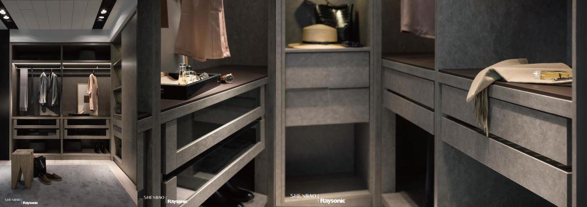 衣櫃利用小牛皮紋櫃體,平檯以馬鞍皮襯底,鮮明的車縫線展現細膩精工。