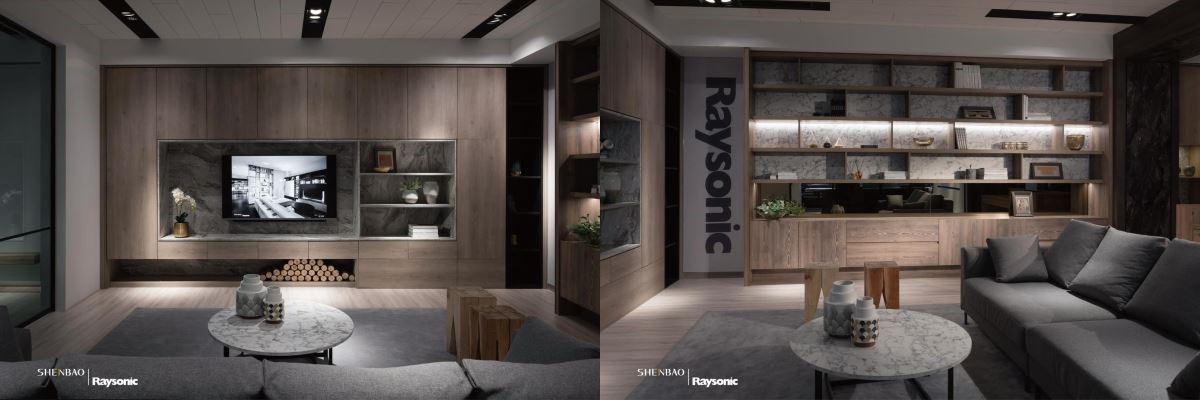 電視牆結合收納櫃機能,中央以大理石襯底,周圍的收納櫃則佈滿自然的原木質感。