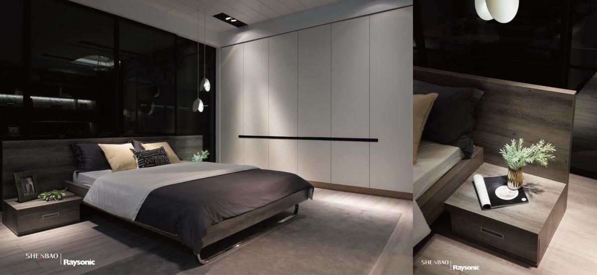 仿彿是真的原木質材,打造出床頭板造型,同時延伸出一旁的床頭櫃,展現出美感的一致性。