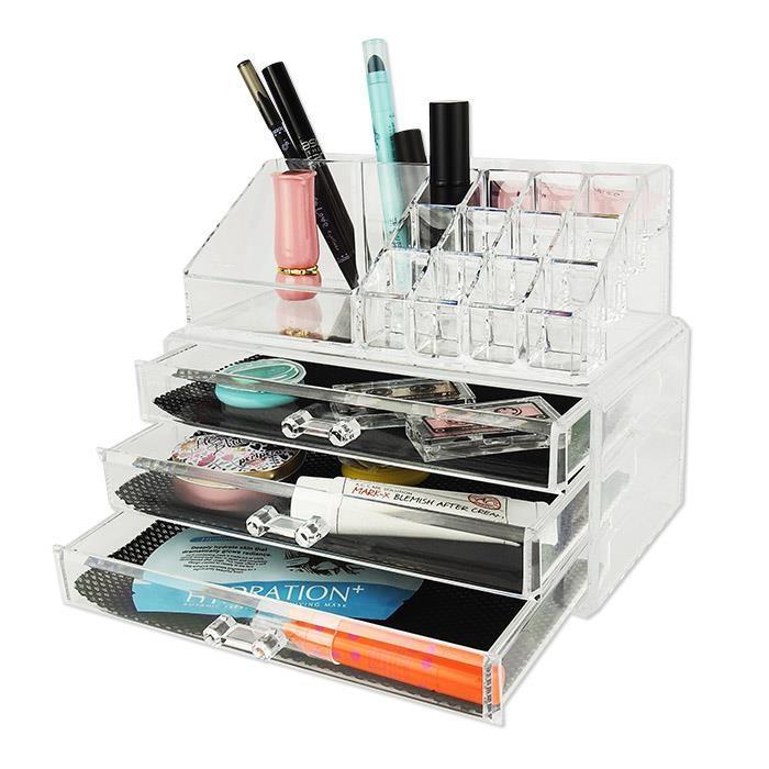 透明化妝品壓克力收納盒+多層抽屜。圖片來源_86小舖