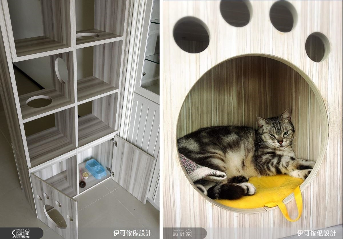 特別訂製的貓長圖樣富有童趣,為櫃門增添層次。