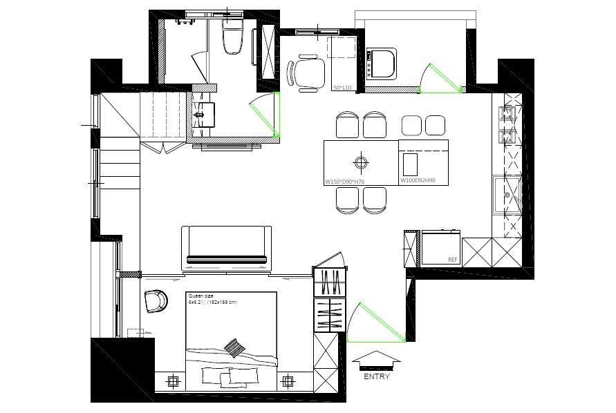 1 樓_AFTER 平面圖:重新調整後的格局,擁有比較完整和寬敞的公共空間,也多了書房和女屋主期待的中島餐廚區。