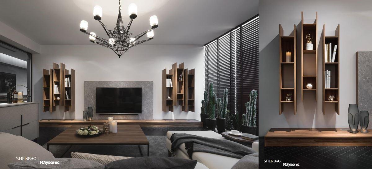 電視牆的兩側結合木紋收納,開放式的木作層板裡可收納書籍或是風格物件,增添人文雅趣。