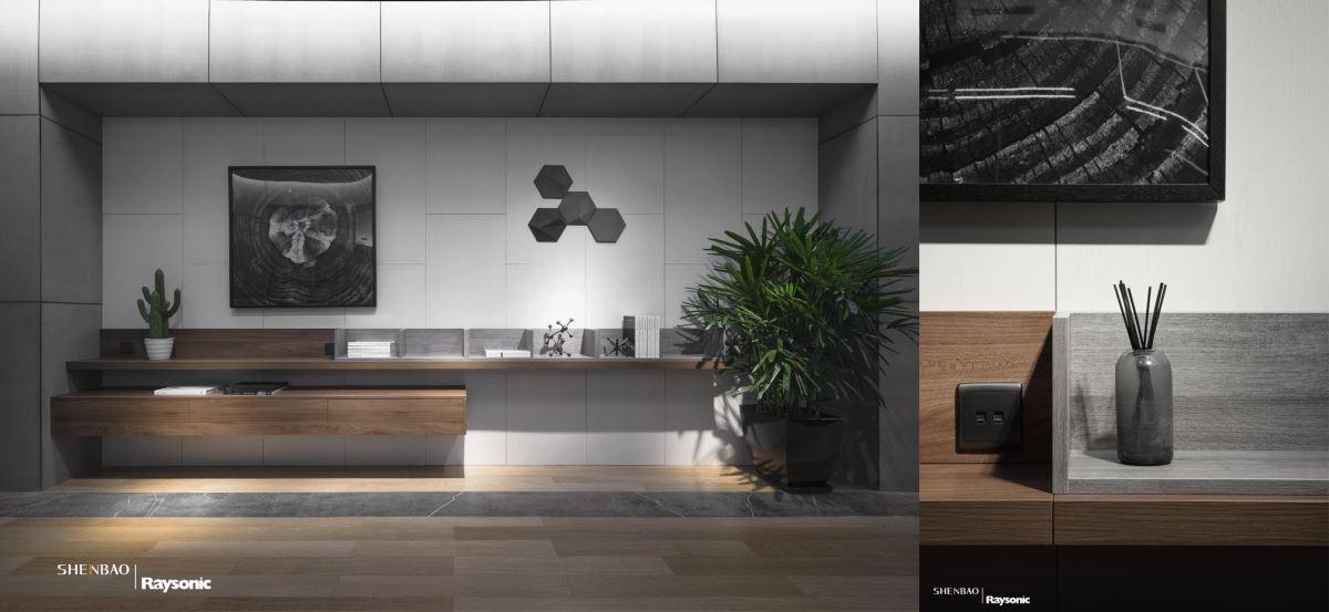 櫃內結合五金創造豐富機能,桌面則以木紋染色,傳遞視覺漸層之感。
