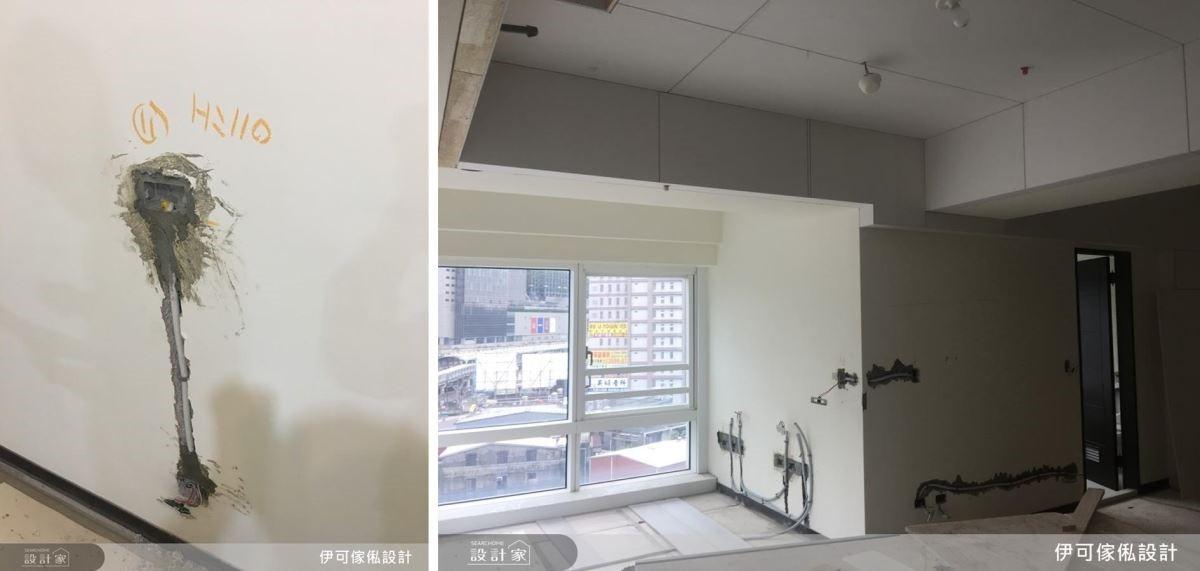 房間內的落電配置同樣依照屋主對於電量的需求,在牆壁打出管線位置,就定位後埋管。/此圖為埋管落電完成。