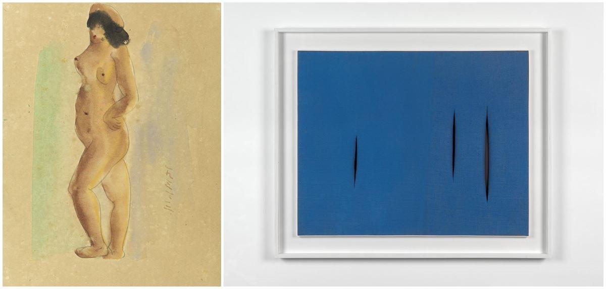 展出作品 : 陳澄波_立姿裸女-31.12(5)_尊彩藝術中心(左);Lucio Fontana 盧西歐•封塔納_預期的空間概念_Massimo de Carlo (右)