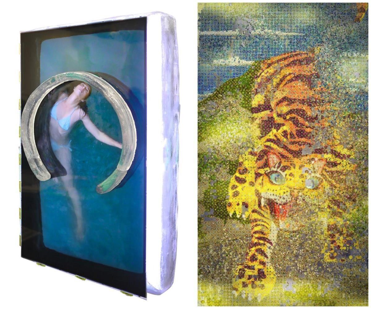 展出作品 : Marck_New Freedom_Bluerider 畫廊 (左);TeamLab_菊虎/曇花一現系列_Ikkan Art Gallery (右)