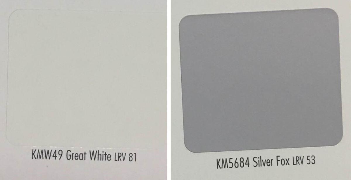 白色油漆及紫色油漆色號。(色號提供_開利塗料)