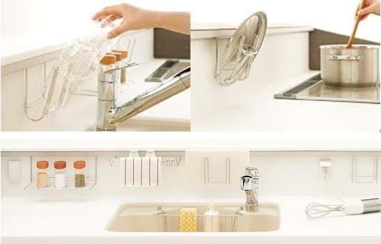 檯面掛件讓平面料理動線暢行無阻,同時達到一物多用的多元收納機能。舉例而言,掛件可身兼鍋蓋、砧板或毛巾架,免除額外加裝外掛五金的困擾。(圖片提供_TOCLAS 昰品名廚)