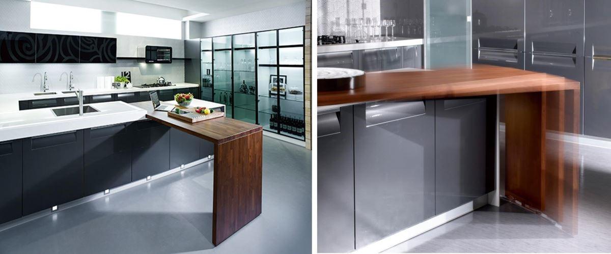 在開放式廚房增設中島吧檯,搭配旋轉餐桌,除了備餐、用膳機能外,還可化身為工作桌,複合式機能規劃,讓空間坪效倍增。