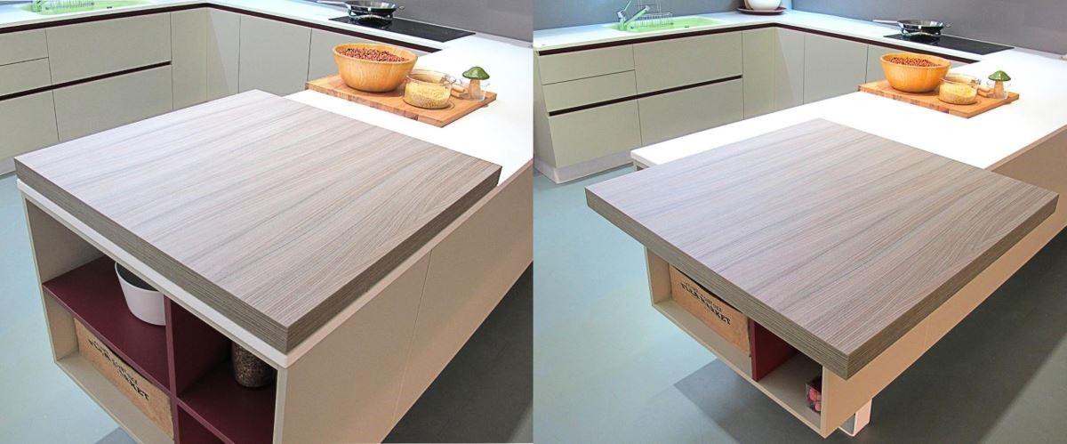精巧可延伸、收納的木餐檯,讓備料區如虎添翼,既是備餐檯,也是輕食吧檯。