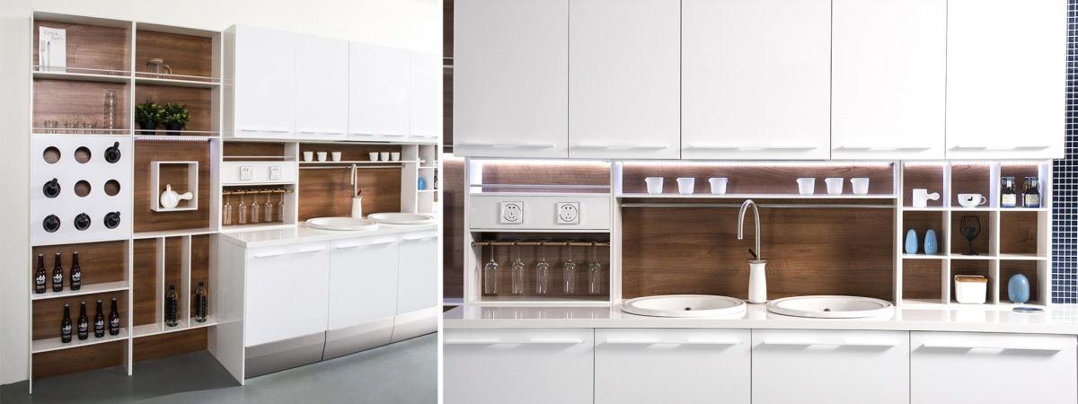 雅登廚飾的模組化廚具設計,每個組件皆可輕鬆拆卸、組裝,可因應不同家庭需求與使用者習慣,靈活搭配,既兼顧實用性,更讓空間有整體感。